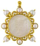 Elizabeth Locke 18K Carved Mother of Pearl & Pearl Brooch Pendant