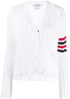 Thom Browne 4-Bar Aran Cable V-Neck Cardigan