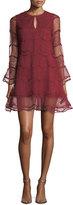 Sachin + Babi Avant Wavy Jewel-Neck Mesh Cocktail Dress w/ Lace