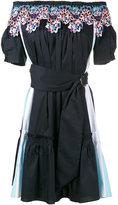 Peter Pilotto Black off-shoulder embroidered day dress - women - Cotton/Polyamide/Spandex/Elastane/Polyester - 10