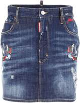 DSQUARED2 Denim Skirt With Patches