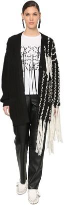 Loewe Over Fringed Wool Waved Knit Cardigan