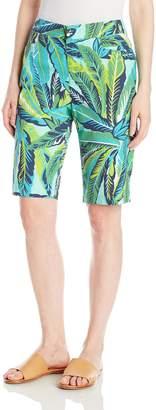 Caribbean Joe Women's Leaf Multicolor Printed Poplin Basic Slant Skimmer Short W/Back Welt Pockets