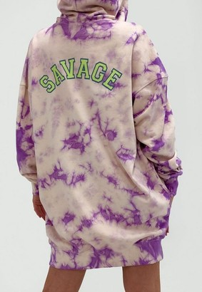 Missguided Lilac Tie Dye Savage Oversized Hoodie Dress