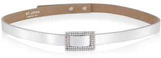 St. John Metallic Crystal Buckle Belt