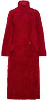 Max Mara Koala Oversized Shearling Coat - Red