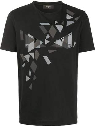 Fendi geometric print t-shirt black