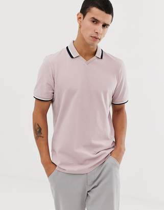 Ted Baker trophy neck polo shirt in pink