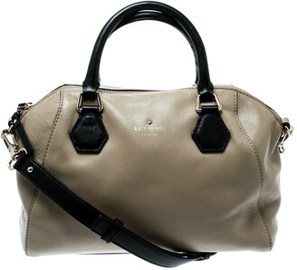 Kate Spade Beige/Black Leather Catherine Street Top Handle Bag