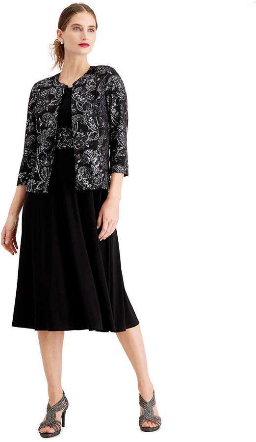 Jessica Howard Petite Midi Dress & Metallic Paisley Jacket