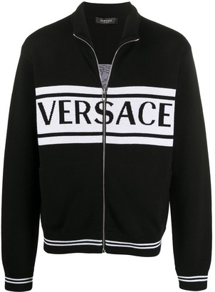 Versace Medusa logo-intarsia zipped cardigan