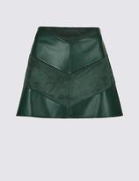 M&S Collection Faux Leather Chevron A-Line Mini Skirt