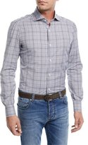 Isaia Irregular Check-Print Cotton Dress Shirt