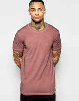 Asos Longline T-Shirt With Crew Neck And Oil Wash In Rust