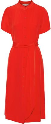 Diane von Furstenberg Belted Silk Crepe De Chine Shirt Dress