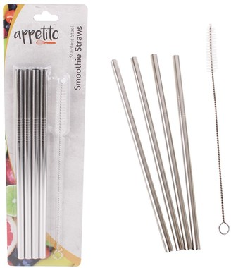 Appetito Stainless Steel Smoothie Straws Set of 4