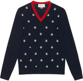 Gucci Wool v-neck with bees and stars - men - Wool - M