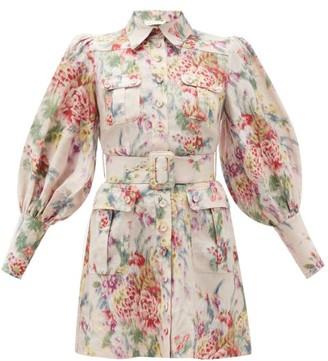 Zimmermann Wavelength Belted Floral-print Linen Mini Dress - Womens - Pink Print