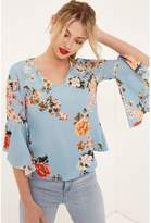 Girls On Film Floral Flute Sleeve Blouse