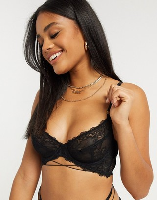 ASOS DESIGN Alzena lace longline underwire bra with back strapping detail