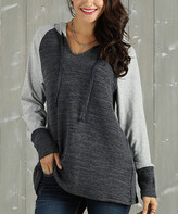 Suzanne Betro Weekend Women's Sweatshirts and Hoodies 102 - Charcoal & Heather Gray Ribbed Hoodie - Women & Plus