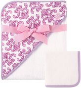 Baby Vision Hudson Baby® Brocade Hooded Towel and Washcloth Set in Purple