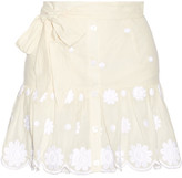 Miguelina Emy Belted Embroidered Cotton-voile Mini Skirt - Cream