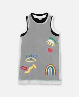 Stella McCartney hearts embroidery mesh dress