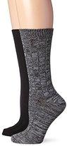 Steve Madden Legwear Women's Two-Pack Heather Solid Boot Socks