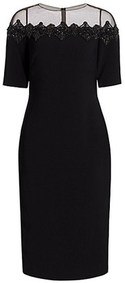 Theia Crepe Illusion-Neck Cocktail Dress