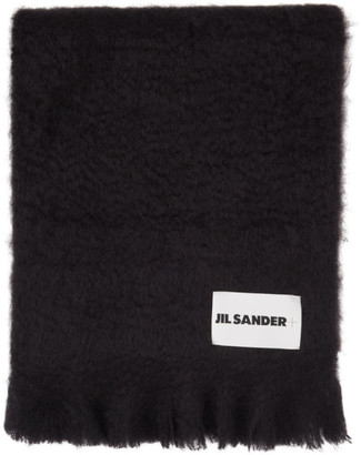 Jil Sanderand Navy Mohair and Wool Scarf