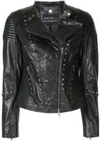 Marc Cain embroidered biker jacket