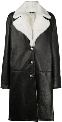 Ermanno Scervino Shearling Collar Mid-Length Coat