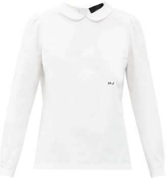 MARC JACOBS, RUNWAY Marc Jacobs Runway - Logo-embroidered Peter Pan-collar Cotton Shirt - White