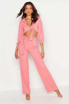 boohoo Tall Plaited Rib Belted Wide Leg Pants