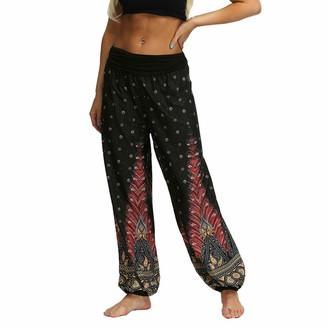 Momoxi Harem Trousers Yoga Bouffant Modal for Women Elastic Stretchy Bloomer Harem Pants Dance Pilates Sports Casual Trousers Flowers for Women Wide Trousers Harem Trousers Loose Pocket