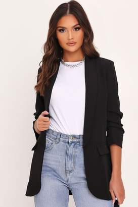 I SAW IT FIRST Black Ruched 3/4 Sleeve Blazer
