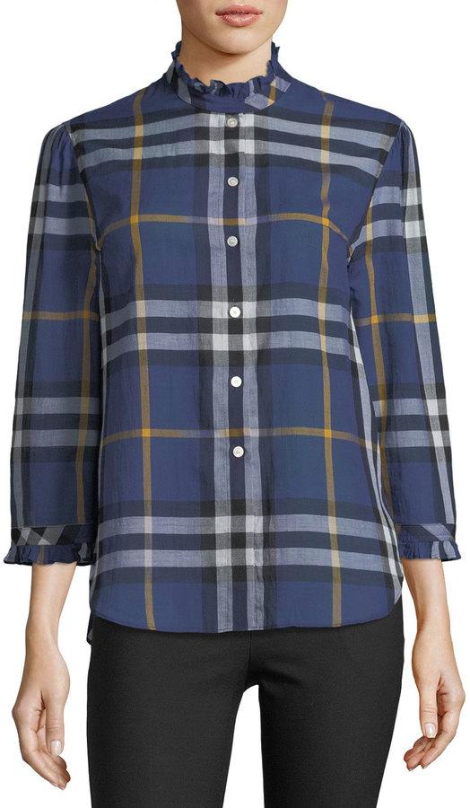 Burberry Salla Ruffle-Trim Check Shirt