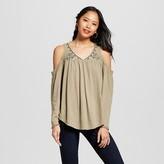 Xhilaration Women's Cold-Shoulder Embroidered Longsleeve Shirt Juniors')