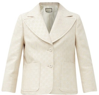 Gucci GG Lurex-jacquard Cropped Wool-blend Jacket - Ivory