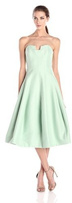 Halston Women's Strapless Geo Notch Neck Silk Faille Midi Dress