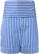 Ports 1961 striped high-waisted shorts - women - Cotton/Polyester/Silk - 44