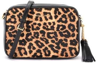 Michael Kors Jet Set Travel Shoulder Bag In Leather With Animalier Details