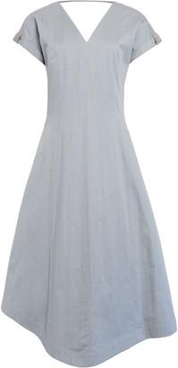 Brunello Cucinelli Double V Cotton Blend Gabardine Midi Dress