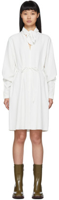 See by Chloe White Neck Tie Long Sleeve Dress