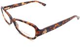 Tory Burch Dark Tortoise & Navy Oval Eyeglasses
