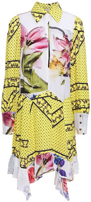 Ganni Paneled Printed Crepe De Chine Mini Dress