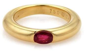 Cartier Ellipse 18K Yellow Gold & Oval Ruby Band Ring Size 6