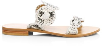 Jack Rogers Lauren Snake-Embossed Leather Sandals