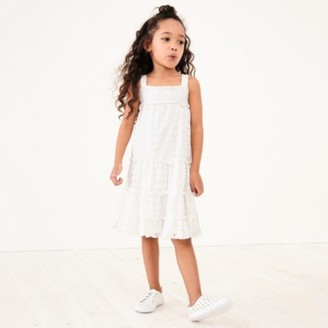 The White Company Tiered Broderie Jersey Dress (1-6yrs), White, 2-3yrs